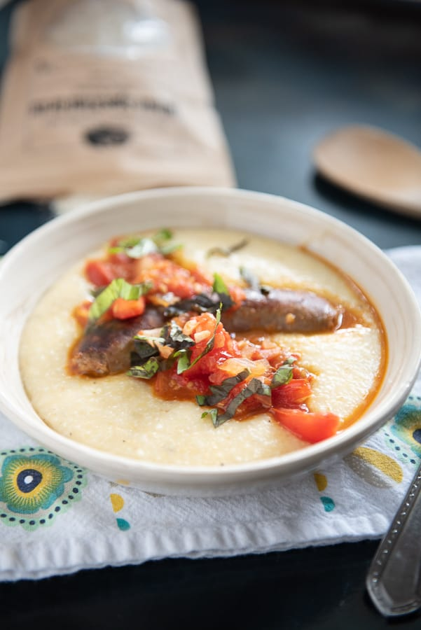 Italian Sausage over Cheddar Cheese Grits