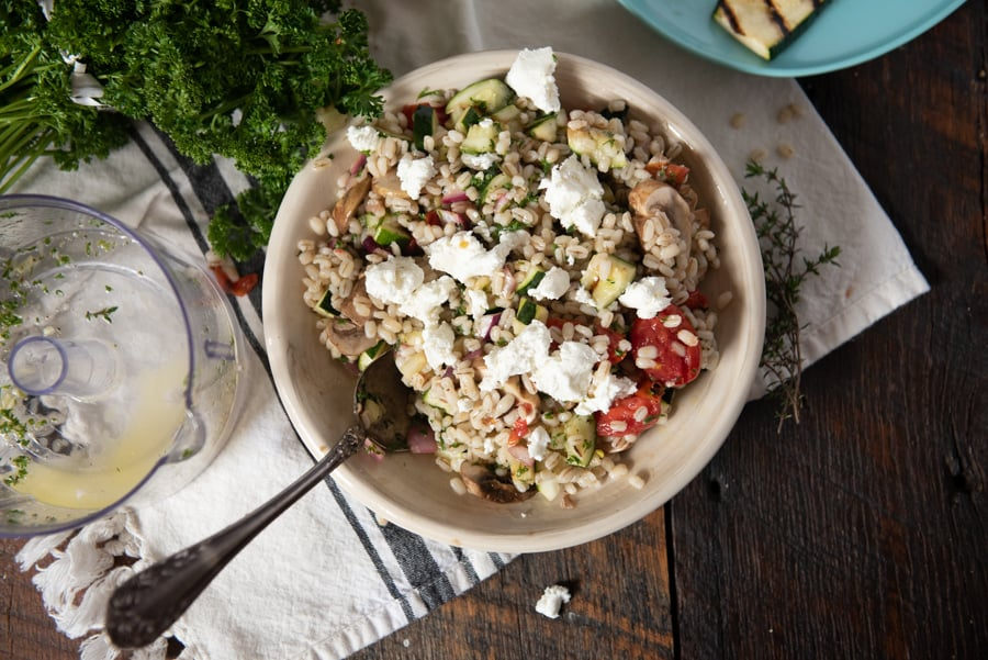 Barley Salad with Grilled Veggies flatlay