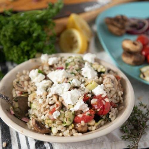 Warm Barley Salad with Grilled Veggies