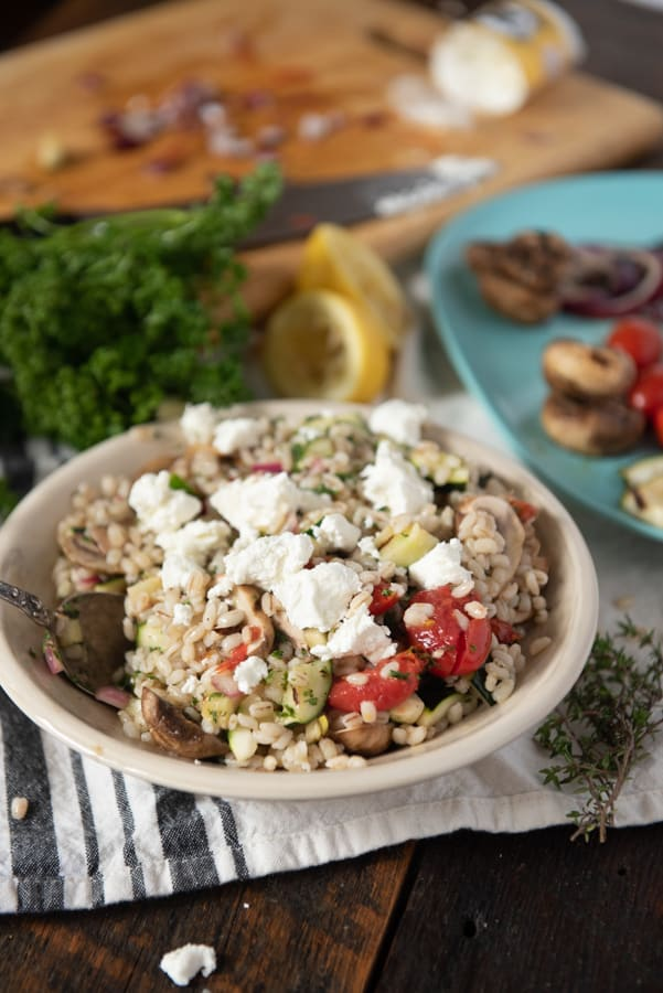 Barley Salad topped with goat cheese